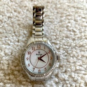 Bulova mother of pearl dial +crystal accents bezel